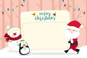 Biglietto di auguri di Natale con Babbo Natale e pupazzo di neve vettore
