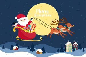 Biglietto di auguri di Natale con Babbo Natale e renne. vettore