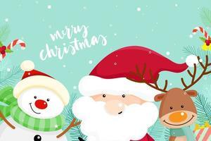 Biglietto di auguri di Natale con Babbo Natale, pupazzo di neve e renne vettore