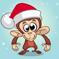 Scimmia di cartone animato scimpanzé Natale vettore