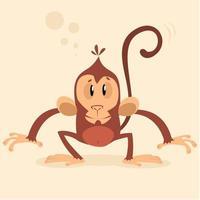 Scimmia di scimpanzé simpatico cartone animato vettore