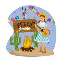 donna che indossa cappello con chitarra e festa banner