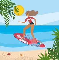 donna che indossa il costume da bagno e il surf con foglie di piante vettore