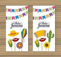 impostare la decorazione delle carte per la celebrazione della festa Junina vettore