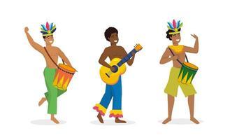 set uomini ballerini e musicista con tamburo e chitarra vettore