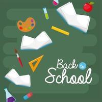 quaderni di scuola con tavolozza d'arte e utensili erlenmeyer