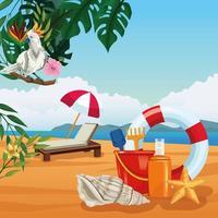 Vacanze estive e cartoni animati sulla spiaggia. vettore