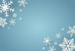 Natale e felice anno nuovo sfondo blu con fiocco di neve vettore