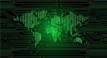 Concetto di circuito cyber mondo verde