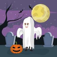 Ragazzo e zucca del fantasma di Halloween