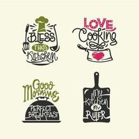 Set di cucina citazioni etichetta, tipografia e lettering vettoriale