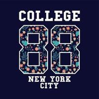 badge college varsity con motivo floreale vettore