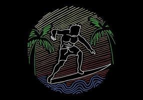 Illustrazione d'annata praticante il surfing di arte di linea