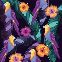 uccelli con foglie di piante e fiori sullo sfondo