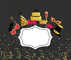 emblema con evento di decorazione di buon compleanno vettore
