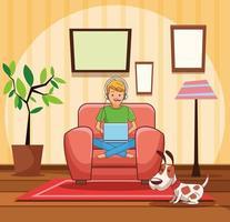 Adolescente con cartone animato di videogiochi vettore