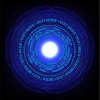 Concetto di tecnologia futura del circuito cyber di hud blu vettore