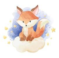 volpe carina seduta sul cloud con le stelle vettore