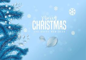 Iscrizione di buon Natale su sfondo blu ghiaccio decorato con foglie di pino e bacche.