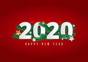 2020 lettere di felice anno nuovo su sfondo rosso decorato con foglie di pino e bacche.