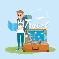 uomo con mappa globale per viaggiare in tutto il mondo