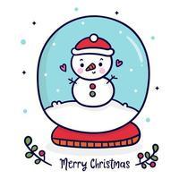 Pupazzo di neve sveglio nella sfera del globo Carattere di Natale allegro x mas vettore