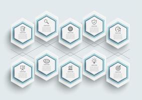 modello di infografica con etichetta di carta 3D vettore