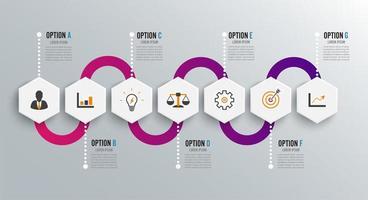 Modello di progettazione infografica e icone di marketing vettore