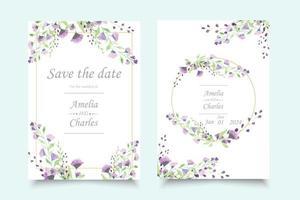Insieme della carta dell'invito di nozze con il fiore dell'acquerello vettore