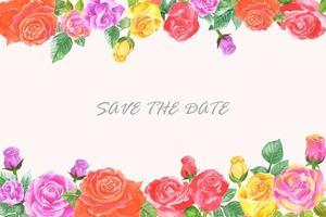 bandiera dell'invito di cerimonia nuziale con il fiore dell'acquerello vettore