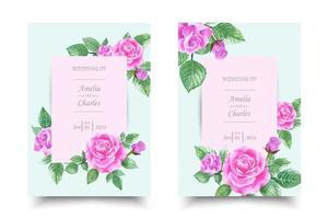 Set di carta di invito di nozze con acquerello di rosa rosa vettore