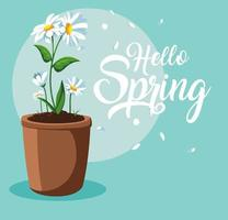 ciao carta di primavera con bellissimi fiori in vaso vettore