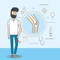 uomo con diagnosi di consultazione di malattia di dolore al ginocchio vettore