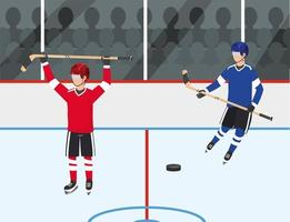 competizione di giocatori di hockey con divisa e attrezzatura vettore