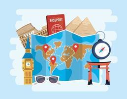 posizioni della mappa globale con passaporto e cronometro a destinazione