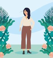 ragazza con camicetta e piante abiti casual con acconciatura