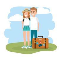 coppia donna e uomo con valigetta viaggio