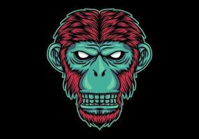 Testa di scimmia al neon vettore