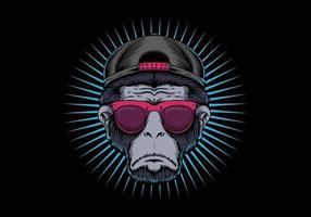 Design degli occhiali con testa di scimmia vettore