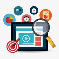 Progettazione di marketing digitale con lente d'ingrandimento sullo schermo e icone di affari