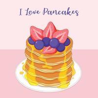 Pancake illustrati con fragole e mirtilli vettore