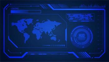 Fondo futuro di concetto di tecnologia del circuito cibernetico blu del mondo HUD