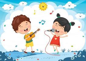 Bambini che suonano musica e cantano vettore