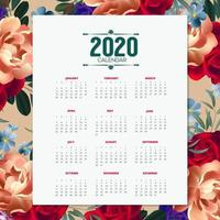 2020 design del calendario floreale
