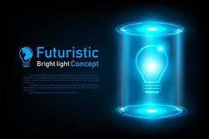 Ologramma futuristico astratto di idea della lampadina
