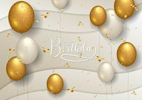 Felice compleanno celebrazione tipografia design con palloncini bianchi e oro vettore