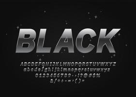 Alfabeto metallico nero di carattere argento scuro