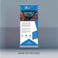 Blue roll up banner commerciali vettore