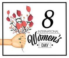 mano con piante di rose per la celebrazione della giornata della donna vettore