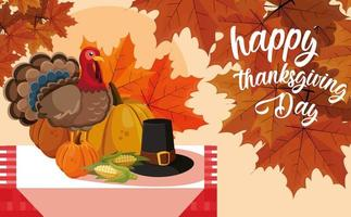 Turchia con zucche e cappello pellegrino sul tavolo